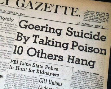 Newspaper headline regarding Hermann's suicide.
