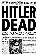 A newspaper front page leading with Hitler's death.