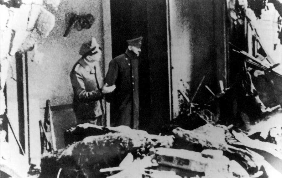 Hitler outside Fuhrerbunker where Hitler's body was found, 1945.